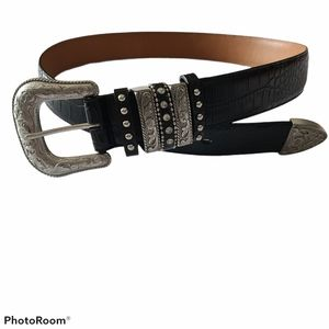 - Nocona Western Croc Print Leather Belt